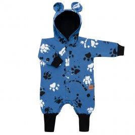 New Baby Kojenecký bavlněný overal s kapucí a oušky New Baby Paw modrý