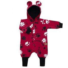 New Baby Kojenecký bavlněný overal s kapucí a oušky New Baby Paw tmavě růžový