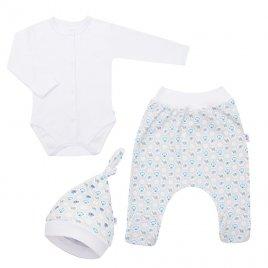 New Baby 3-dílná bavlněná kojenecká souprava New Baby Kiddy bílo-modrá