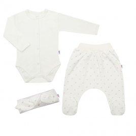 New Baby 3-dílná bavlněná kojenecká souprava New Baby Kiddy smetanová