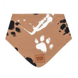 New Baby Kojenecký bavlněný šátek na krk New Baby Paw hořčicový S