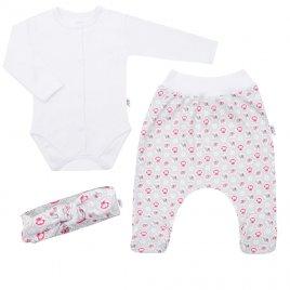 New Baby 3-dílná bavlněná kojenecká souprava New Baby Kiddy bílo-růžová