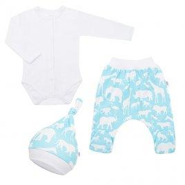 New Baby 3-dílná bavlněná kojenecká souprava New Baby Kiddy bílo-tyrkysová