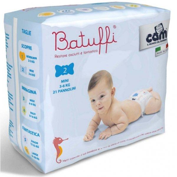 Cam Jednorázové pleny BATUFFI 3-6 Kg 21 Ks Bílá