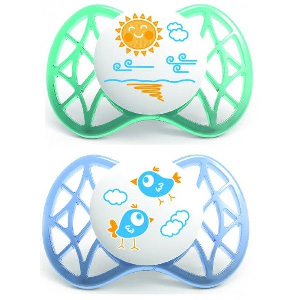 Nuvita Malé symetrické dudlíky 0M+ 2ks Blue and Tiffany