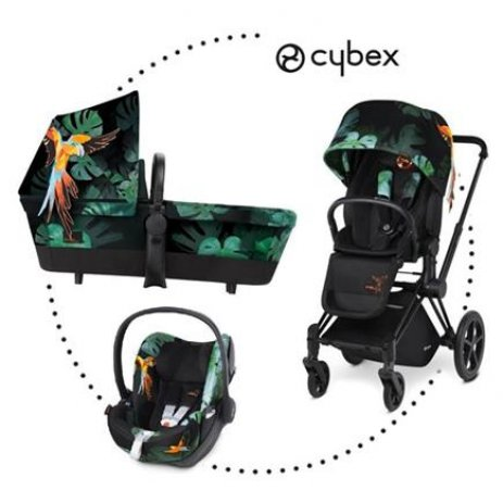 Cybex Kočárek Set Priam All Terrain Matt Black Seat Lux Fashion 2018 Birds of Paradise