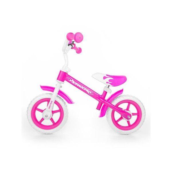 Milly Mally Dětské odrážedlo kolo Milly Mally Dragon s brzdou pink Růžová