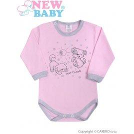 New Baby Kojenecké body s dlouhým rukávem New Baby Kamarádi růžové