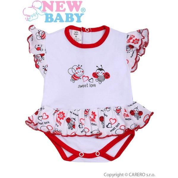 New Baby Kojenecké body s krátkým rukávem a volánkem New Baby Beruška Bílá