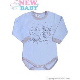 New Baby Kojenecké body s dlouhým rukávem New Baby Kamarádi modré