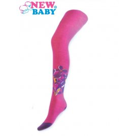 New Baby Bavlněné punčocháčky New Baby růžové s kytičkami