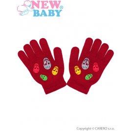 New Baby Dětské zimní rukavičky New Baby Girl červené