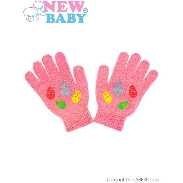 New Baby Dětské zimní rukavičky New Baby Girl růžové Růžová
