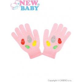 New Baby Dětské zimní rukavičky New Baby Girl světle růžové