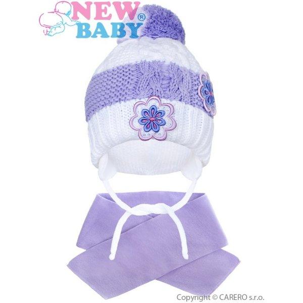New Baby Zimní dětská čepička se šálou New Baby květinky fialová Fialová
