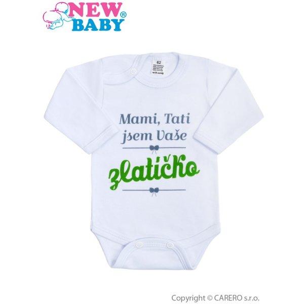 New Baby Body s potiskem New Baby Mami, Tati jsem Vaše zlatíčko Zelená