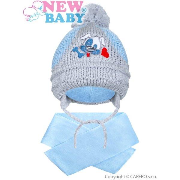 New Baby Zimní dětská čepička se šálou New Baby pejsek světle modrá Světle modrá