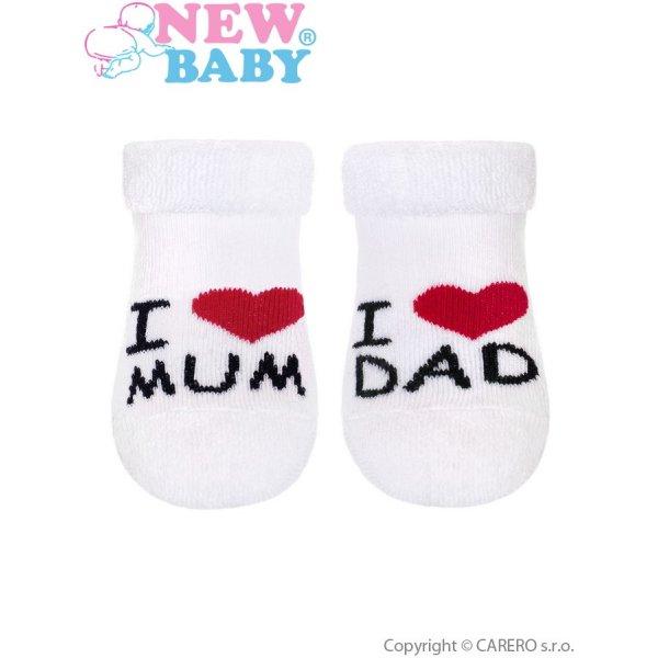 New Baby Kojenecké froté ponožky New Baby bílé I Love Mum and Dad Bílá