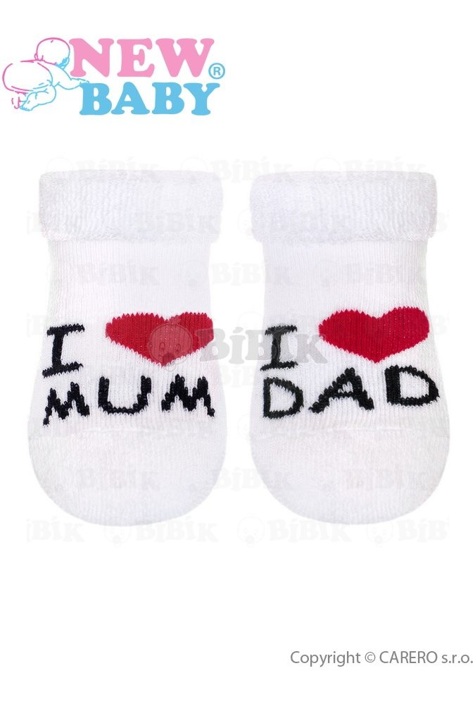 New Baby Kojenecké froté ponožky New Baby bílé I Love Mum and Dad Bílá 7f6f3d5773