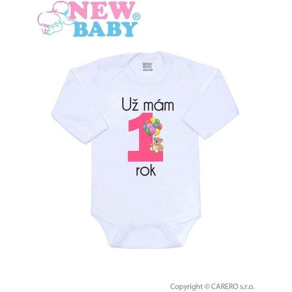 New Baby Body s potiskem New Baby Už mám 1 rok růžové Růžová