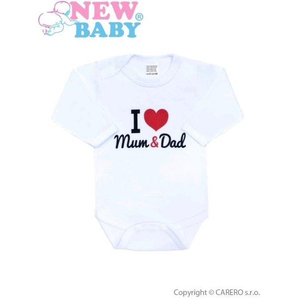 New Baby Body s potiskem New Baby I love Mum and Dad Červená