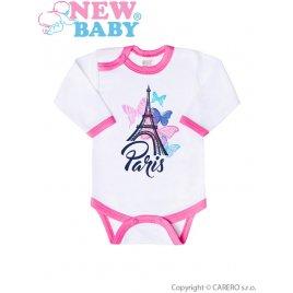 New Baby Kojenecké body s dlouhým rukávem New Baby Towns růžové