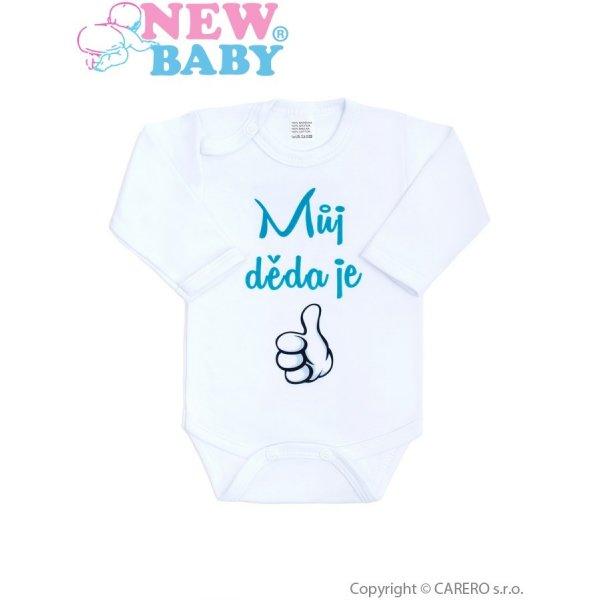 New Baby Body s potiskem New Baby Můj děda je jednička Tyrkysová