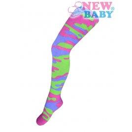 New Baby Bavlněné punčocháčky New Baby s maskáčovým vzorem zeleno-růžové