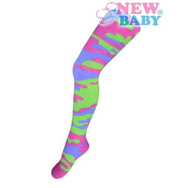 New Baby Bavlněné punčocháčky New Baby s maskáčovým vzorem zeleno-růžové Růžová