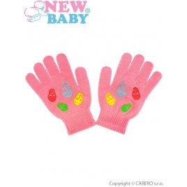 New Baby Dětské zimní rukavičky New Baby Girl malinové