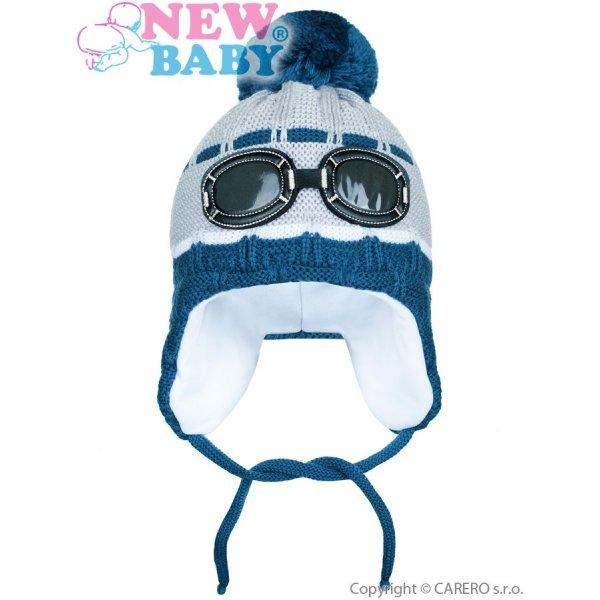 New Baby Zimní dětská čepička New Baby brýle šedá Šedá
