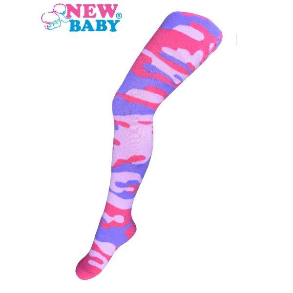 New Baby Bavlněné punčocháčky New Baby s maskáčovým vzorem růžovo-fialové Růžová