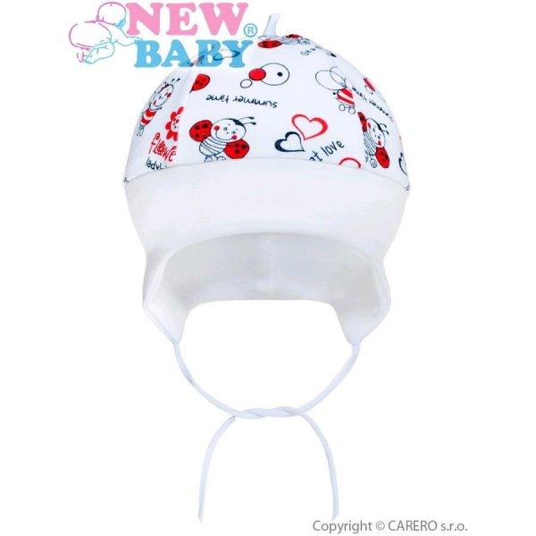 New Baby Dětská bavlněná čepička New Baby Beruška Bílá