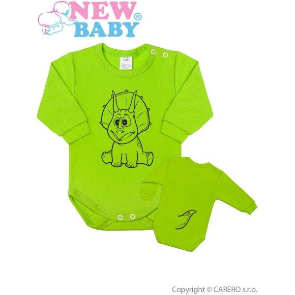 New Baby Kojenecké body s dlouhým rukávem New Baby Zvířátko Dinosaurus světle zelené Světle zelená