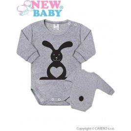 New Baby Kojenecké body s dlouhým rukávem New Baby Zvířátko Zajíček šedé
