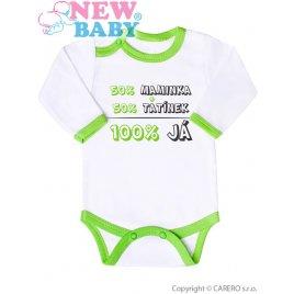 New Baby Body s potiskem New Baby 50% MAMINKA + 50% TATÍNEK - 100% JÁ zelené