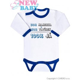 New Baby Body s potiskem New Baby 50% MAMINKA + 50% TATÍNEK - 100% JÁ modré