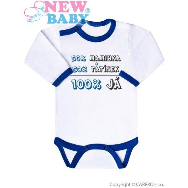 New Baby Body s potiskem New Baby 50% MAMINKA + 50% TATÍNEK - 100% JÁ modré Modrá