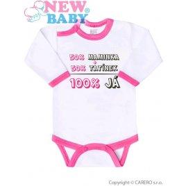New Baby Body s potiskem New Baby 50% MAMINKA + 50% TATÍNEK - 100% JÁ růžové