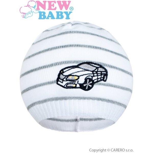 New Baby Jarní čepička New Baby s autíčkem bílo-tmavě šedá Šedá