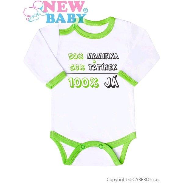 New Baby Body s potiskem New Baby 50% MAMINKA + 50% TATÍNEK - 100% JÁ zelené Zelená