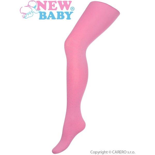 New Baby Bavlněné punčocháče 3D New Baby růžové s puntíky Růžová