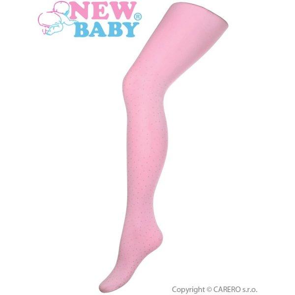 New Baby Bavlněné punčocháče 3D New Baby světle růžové s puntíky Světle růžová