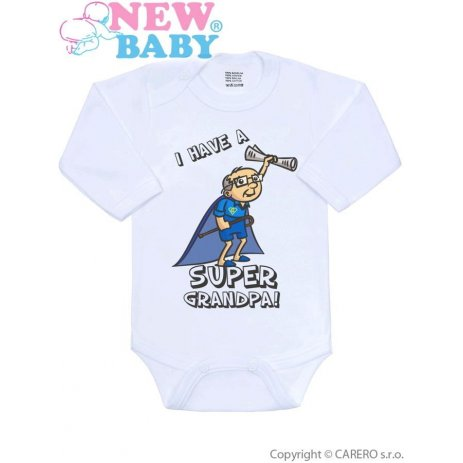 New Baby Body s potiskem New Baby SUPER FAMILY, SUPER GRANDPA Modrá