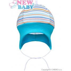 New Baby Kojenecká čepička na zavazování New Baby Puppik 2 tyrkysová