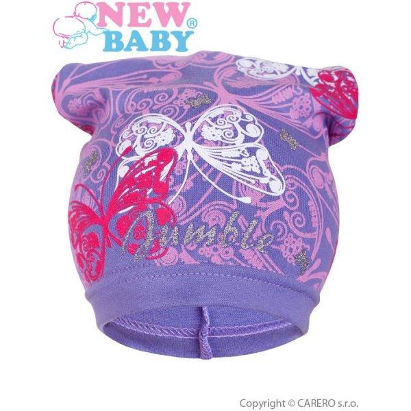 New Baby Jarní dětská čepička New Baby motýlci fialová Fialová