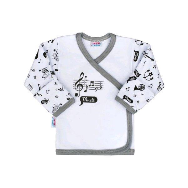 New Baby Kojenecká bavlněná košilka New Baby Music Bílá