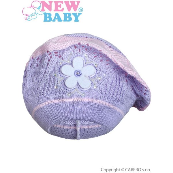New Baby Pletená čepička-baret New Baby fialová Fialová