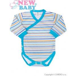 New Baby Kojenecké body s dlouhým rukávem celorozepínací New Baby Puppik 2 tyrkysové