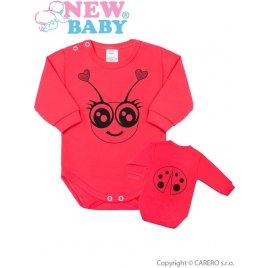 New Baby Kojenecké body s dlouhým rukávem New Baby Zvířátko Beruška růžové